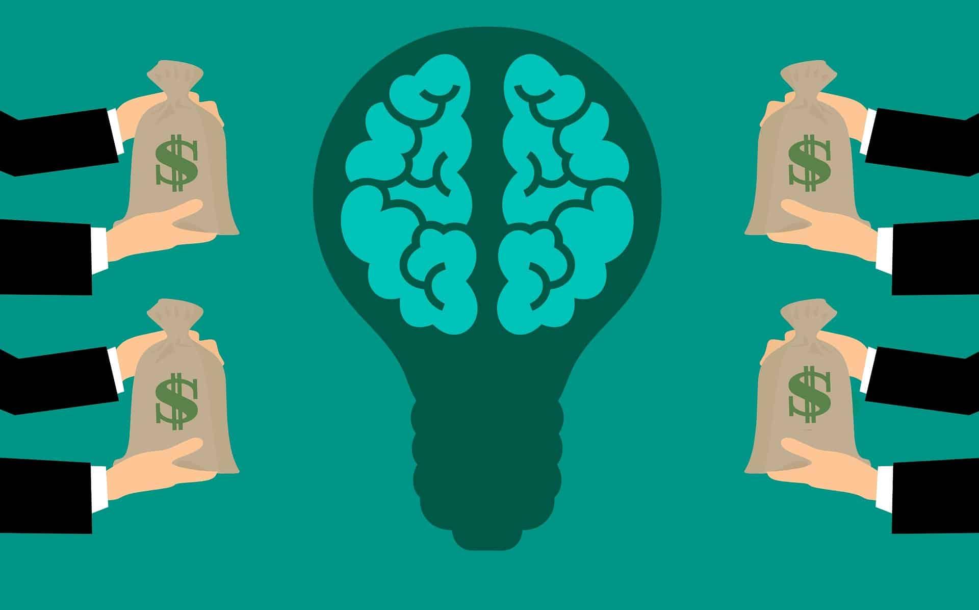 En række hænder giver penge til en lyspære med en hjerne, der symboliserer en god ide